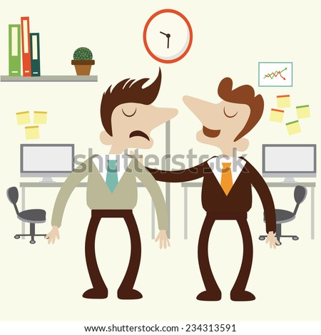 Office scene with businessman partner reassure his friend .vector design illustration. - stock vector