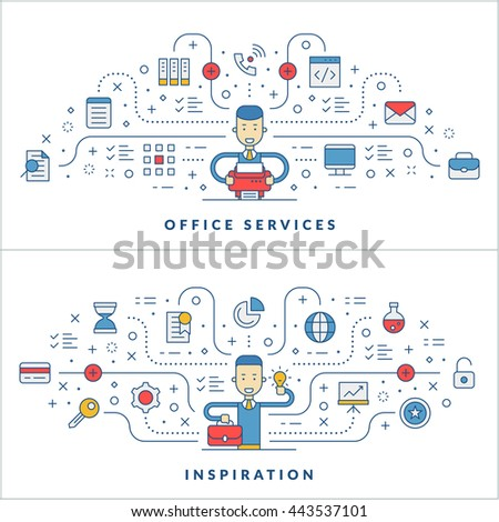 Office services. Inspiration. Flat line icons and businessman cartoon character. Business concept. Vector thin line illustration for website banner template or header