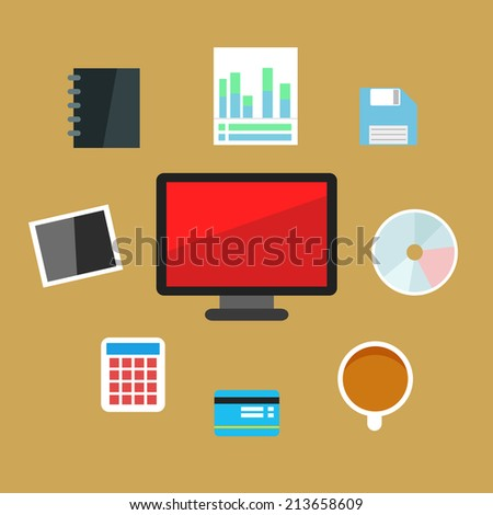 Office set with flat elements and icons for work and business on brown background - stock vector