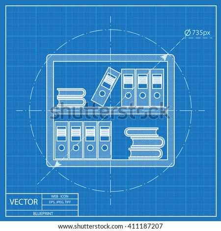 Office shelf icon blueprint style stock photo photo vector blueprint style malvernweather Choice Image