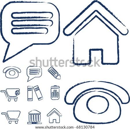 office signs. sketch version. vector - stock vector