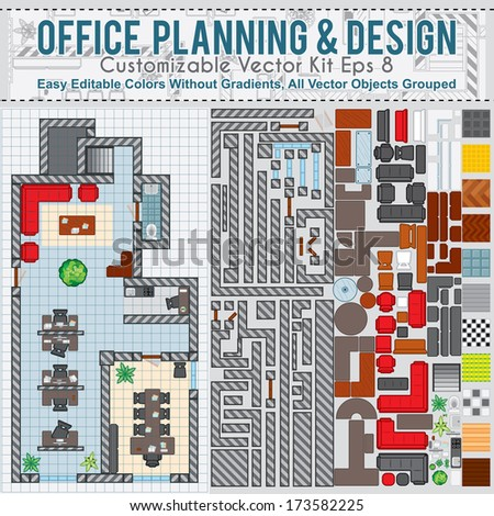 Office Space Planning and Design. Vector Kit Contains: Construction Elements, Modern Furniture, Various Objects and Items to Create Your Own Office Interior. - stock vector