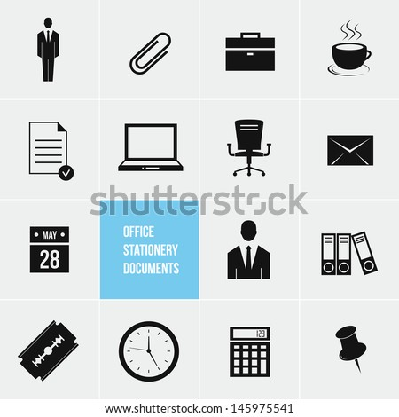 Office Stationery and Documents Vector Icons Set - stock vector