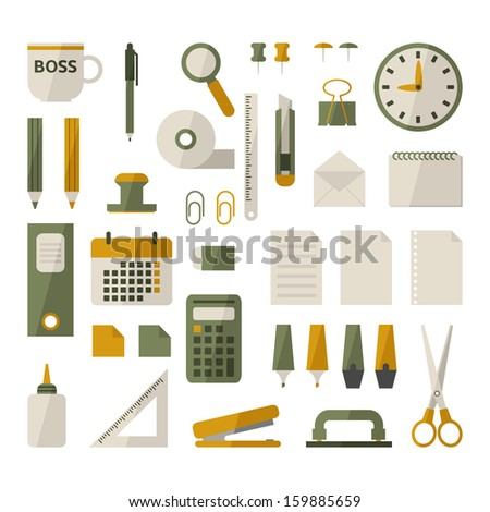 Office stationery set - stock vector