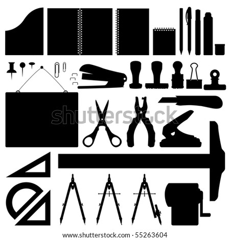 Office Stationery Set Vector - stock vector