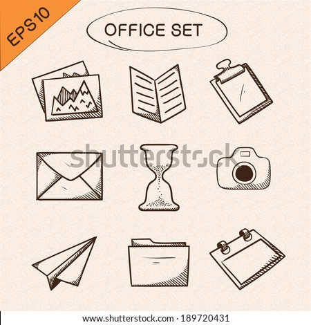 Office stationery symbols set. Sketch icons pictograms collection. Eps 10 vector illustration. - stock vector
