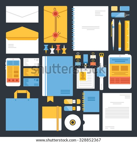 Nice Office Supplies And Stationery Flat Icons Set. Modern Flat Design Concepts  For Web Banners,