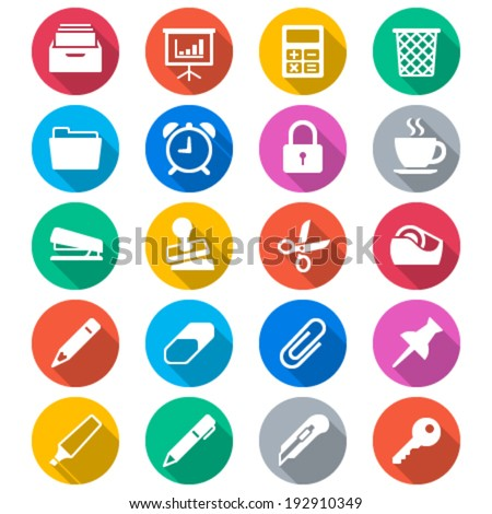 Office supplies flat color icons - stock vector