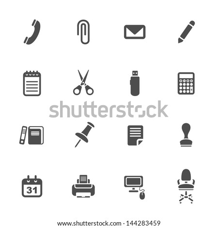 Office supplies icons set - stock vector