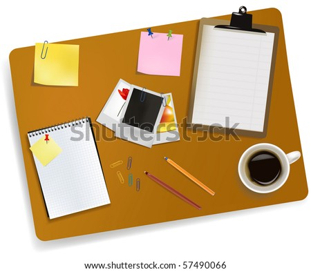 Office supplies laying on the board. Vector. - stock vector