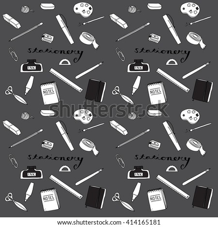 Office Supplies Stationery doodle illustration icon background