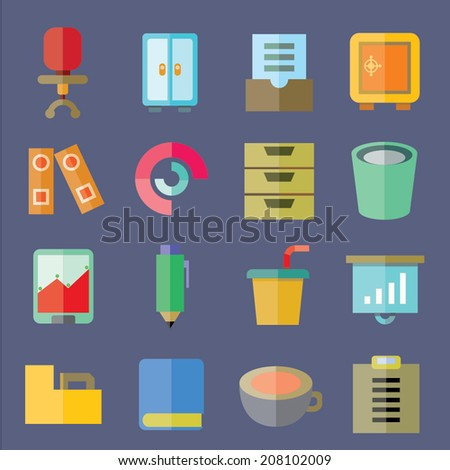 office supply and business icons, flat icons set