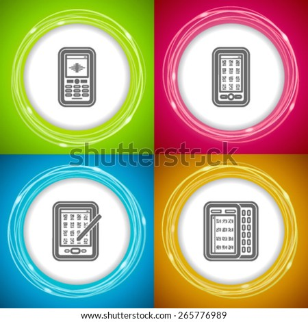 Office Supply Objects - Mobile phone, Smartphone, Smartphone with a Pen, Smartphone with keyboard. - stock vector