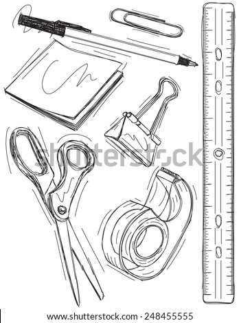 Office supply sketches - stock vector