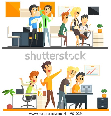 Office Team Flat Vector Graphic Geometric Style Collection Of Two Illustrations On White Background - stock vector