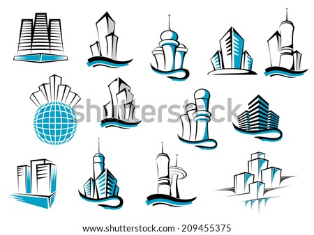 Office, telecommunication and residential buildings symbols or emblems set. Suitable for architecture and real estate logo industry design - stock vector