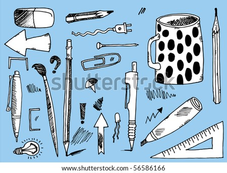 Office tools collection - stock vector