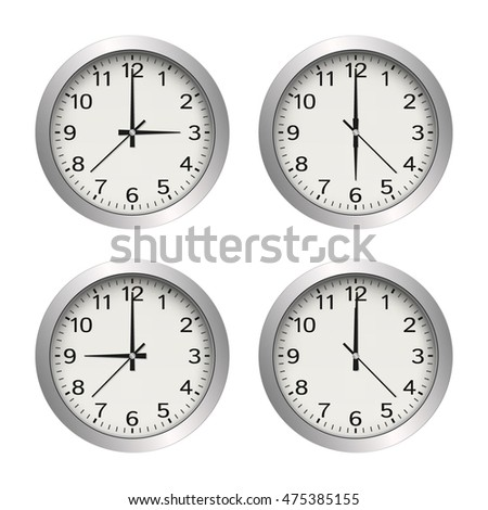 Office wall clock metallic white vector icon set