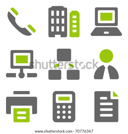Office web icons, green grey solid icons - stock vector