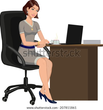 office woman behind a Desk with a laptop - stock vector