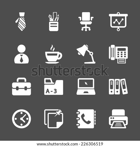 office work icon set, vector eps10. - stock vector