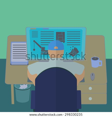 Office worker at his computer desk. Working room section interior view. IT engineer and web designer workplace. Flat design template vector illustration.  - stock vector