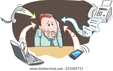 Office worker, businessman - burnout by information overload by electronic devices - smart-phone, telephone, fax, e-mail. Vector illustration - stock vector