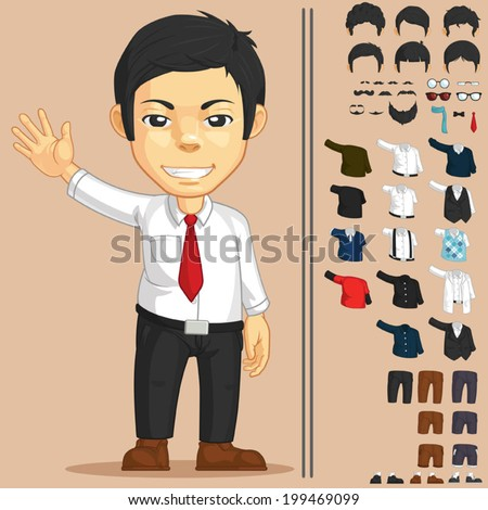 Office Worker Customizable Character - stock vector