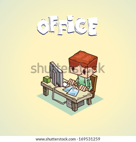 office worker. funny cartoon character - stock vector