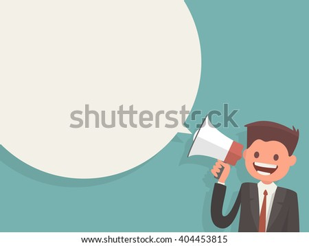 Office worker holding a megaphone. Bubble speech. Template Information poster - stock vector