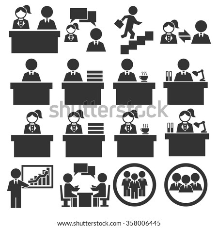 office worker icon set - stock vector