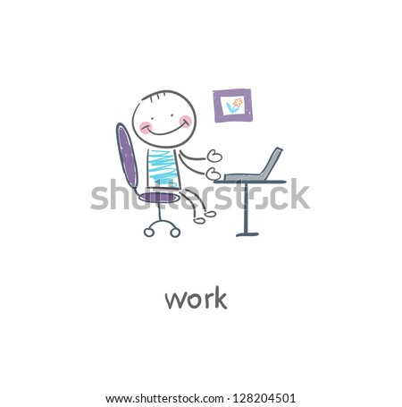 Office worker. Illustration. - stock vector