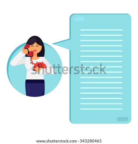 Office worker is talking on telephone. Thinking list. Template or blank with job concept. Vector - stock vector