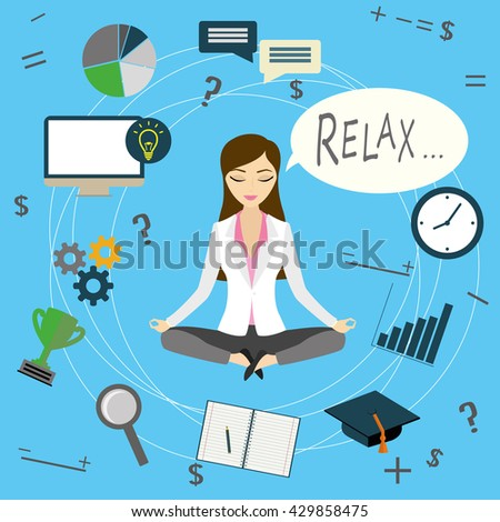 Office worker or business woman relaxes after work, cartoon vector illustration - stock vector