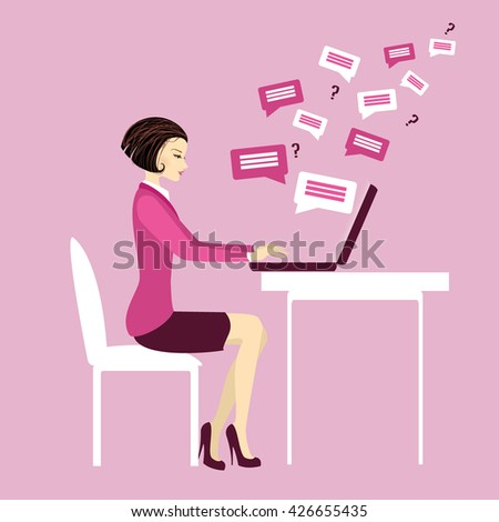 Office worker or business woman. Working On laptop .Communication via computer.Cartoon vector illustration - stock vector