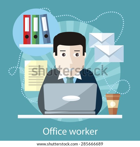 Office worker sitting at table in front of computer on the stylish colored background. Activity field of freelancer. Flat design cartoon style for web design, analytic, graphic design  - stock vector