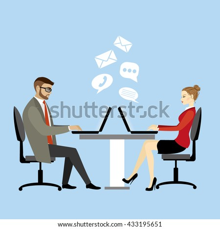 Office workers or business people sitting at the table. Working On laptop .Communication via computer.Cartoon vector illustration