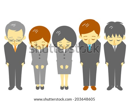 office workers, polite bow - stock vector