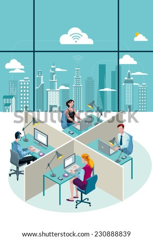 Office Workers Sitting at their desks working with laptop. At their back, through a big window, there is a city with skyscrapers. - stock vector