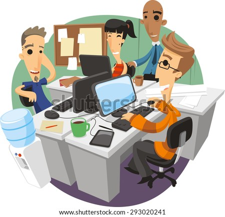 Office workers start up Team Discussion Planning cartoon illustration - stock vector