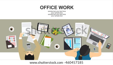 Office Working Flat Vector Illustration