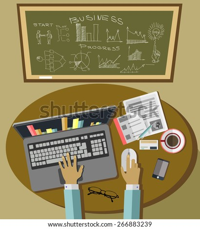 Office workplace. Business man working with laptop and documents, top view. Flat design illustration - stock vector