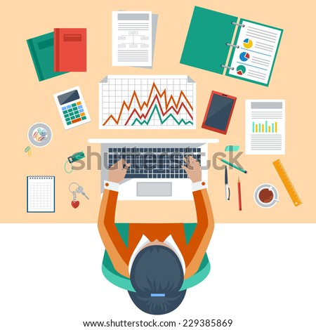 Office workplace. Business woman working with laptop and documents on table, top view. Flat design cartoon style - stock vector