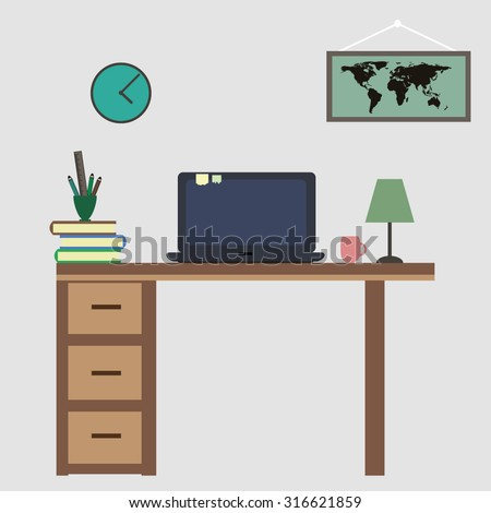 Office workplace flat vector design. Workspace for freelancer and home work. - stock vector