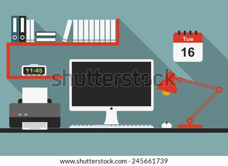 Office workplace interior with desktop computer, mouse, lamp, clock, bookshelf and printer in flat style for business concept design - stock vector