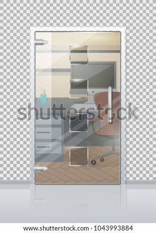 Office Workplace Through Sliding Glass Door Stock Vector Hd Royalty