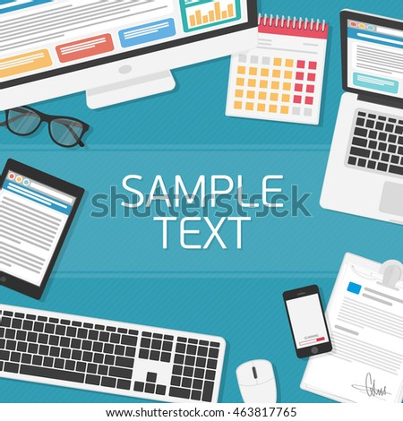 designer office desk isolated objects top view. office workplace top view illustration of modern business or workspace in flat style designer desk isolated objects g