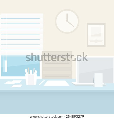 Office Workplace with Computer - stock vector