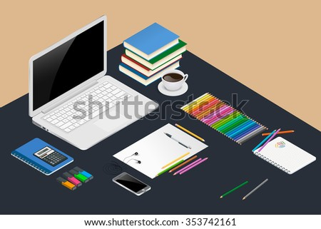 Office workspace design concept with open laptop (notebook), books, spiral notepad, line of colored pencils, smartphone and calculator.  Set of flat design concept. Vector isometric illustration. - stock vector