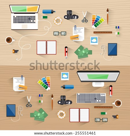 Office workspace. Icon collection. Office things: computer, keyboard, table, top view, monitor, camera, marker, telephone, cable, satellite, notebook, laptop, money. Vector illustration. Flat design. - stock vector